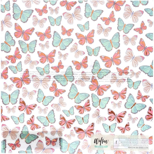 American Crafts One Canoe Two VELLUM WITH COPPER FOIL BUTTERFLIES 12x12 Inch Sheet 355081 Preview Image