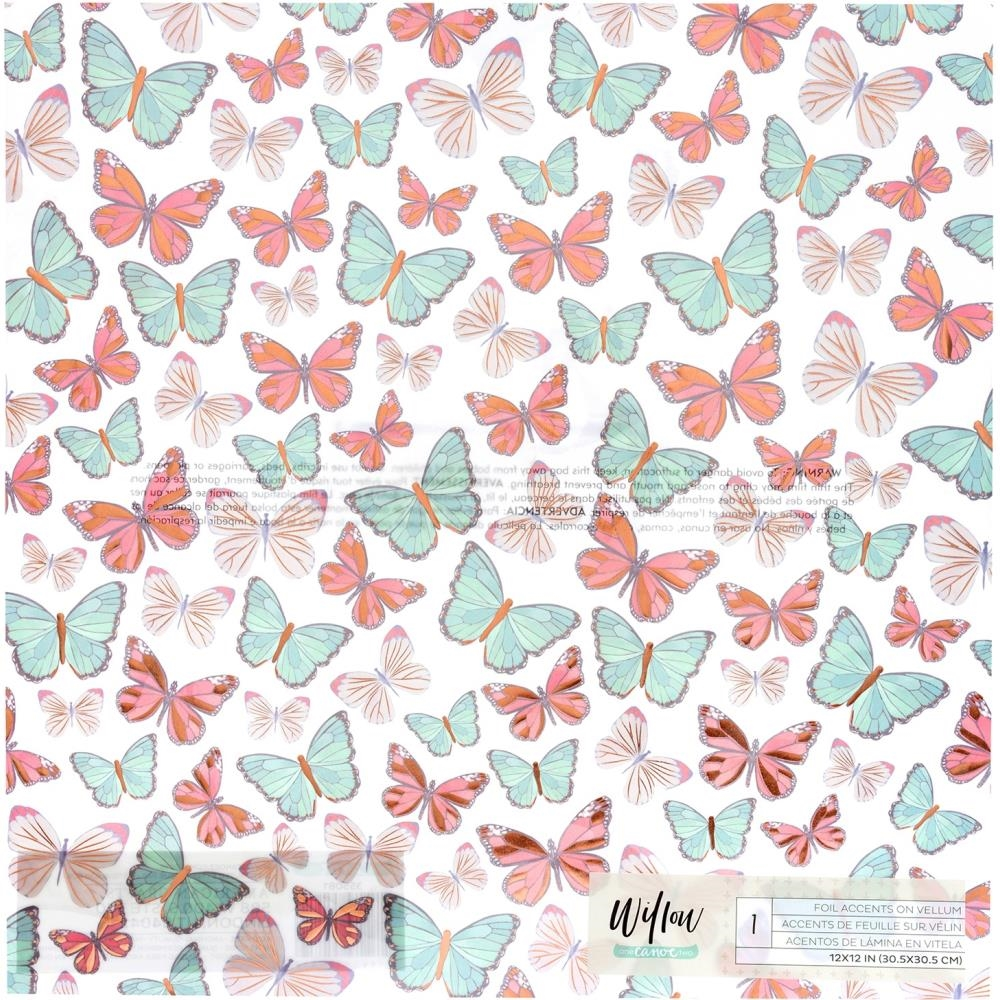 American Crafts One Canoe Two VELLUM WITH COPPER FOIL BUTTERFLIES 12x12 Inch Sheet 355081 zoom image