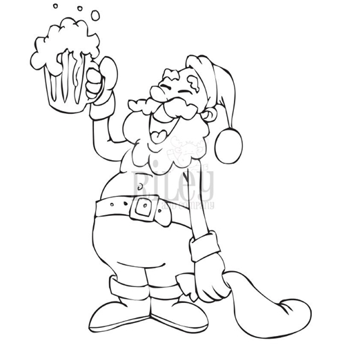 Riley And Company Funny Bones DRINKING SANTA Cling Rubber Stamp RWD-736 Preview Image