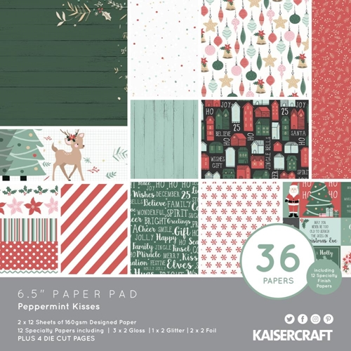 Kaisercraft PEPPERMINT KISSES 6.5 Inch Paper Pad PP1075 Preview Image