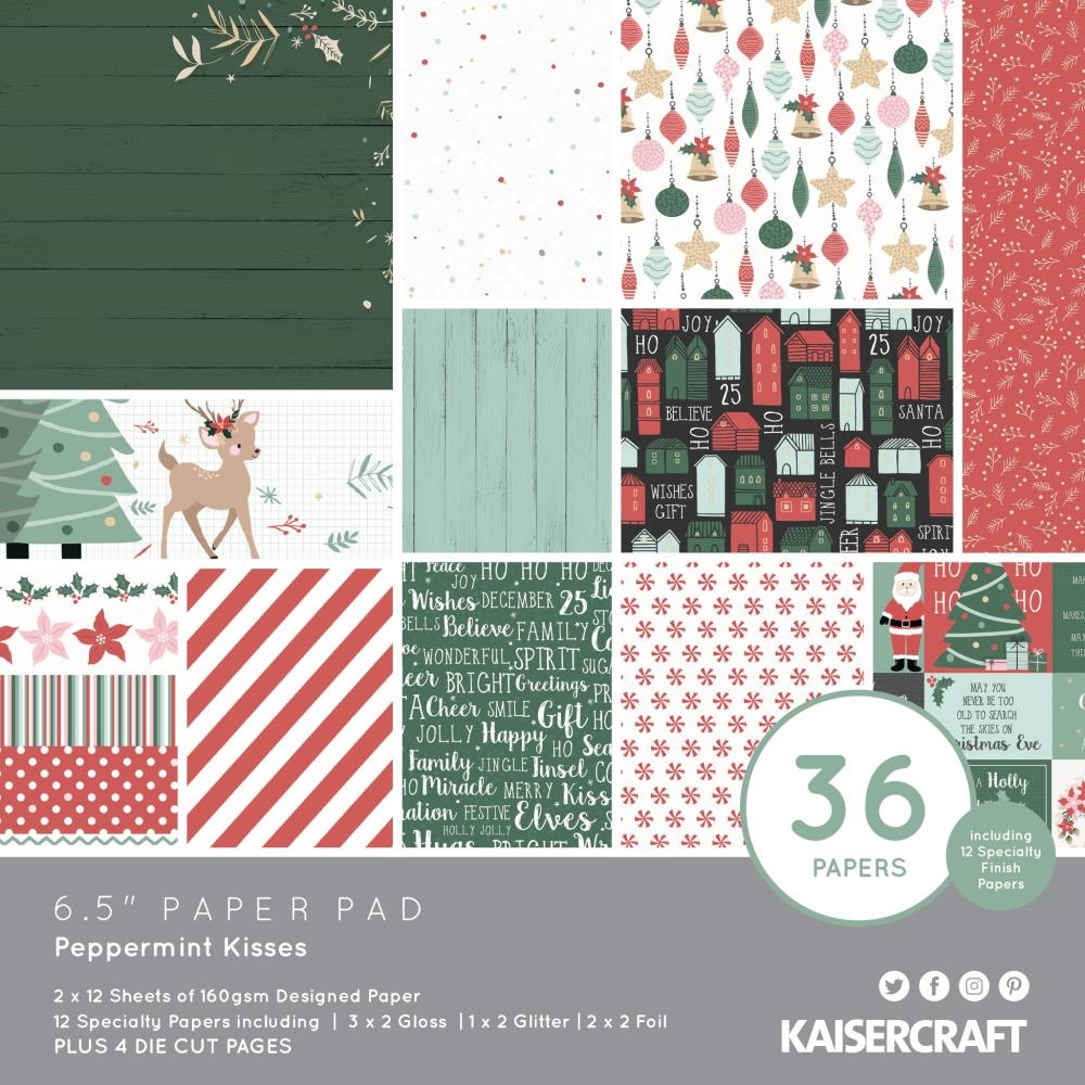 Kaisercraft PEPPERMINT KISSES 6.5 Inch Paper Pad PP1075 zoom image