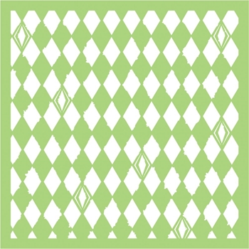 Kaisercraft DISTRESSED DIAMONDS 6x6 Inch Stencil IT497