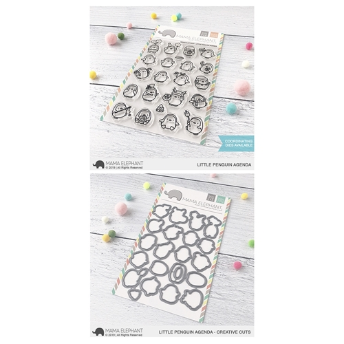 Mama Elephant Clear Stamp and Die MEPT686 Little Penguin Agenda SET Preview Image