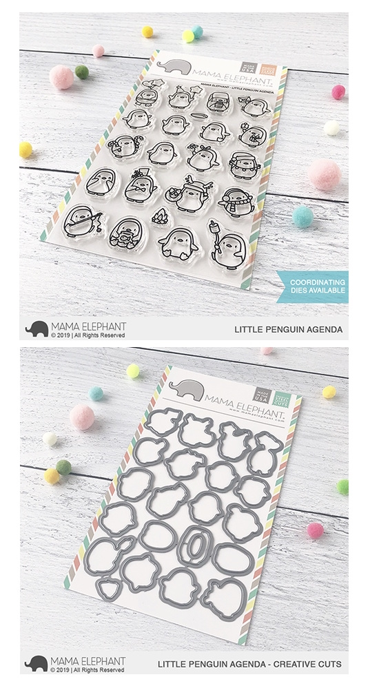 Mama Elephant Clear Stamp and Die MEPT686 Little Penguin Agenda SET zoom image