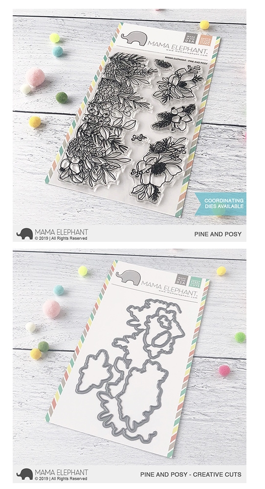 Mama Elephant Clear Stamp and Die MEPT694 Pine and Posy SET zoom image