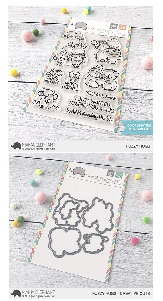 Mama Elephant Clear Stamp and Die MEPT683 Fuzzy Hugs SET zoom image