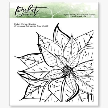 Picket Fence Studios CHRISTMAS POINSETTIA Clear Stamp c105