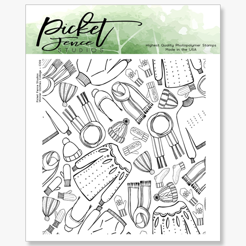 Picket Fence Studios WINTER CLOTHES COLLAGE Clear Stamp c109 zoom image