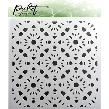Picket Fence Studios PATTERN OF FLOWERS 6x6 Stencil sc140