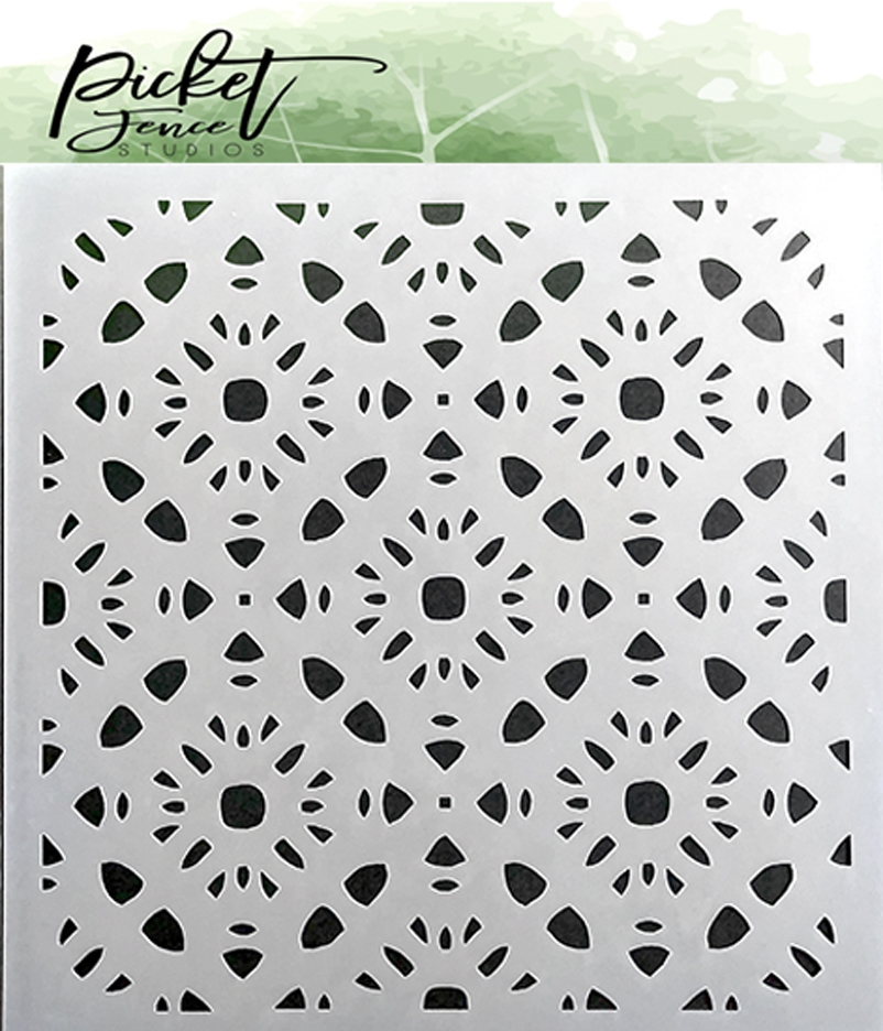 Picket Fence Studios PATTERN OF FLOWERS 6x6 Stencil sc140 zoom image