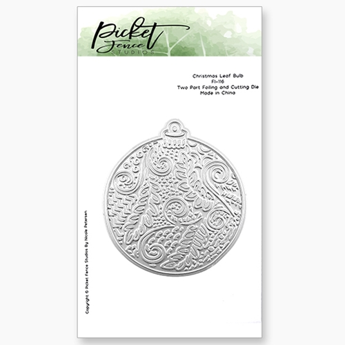 Picket Fence Studios CHRISTMAS LEAF BULB Foiled Impressions Die Combo fi116 Preview Image