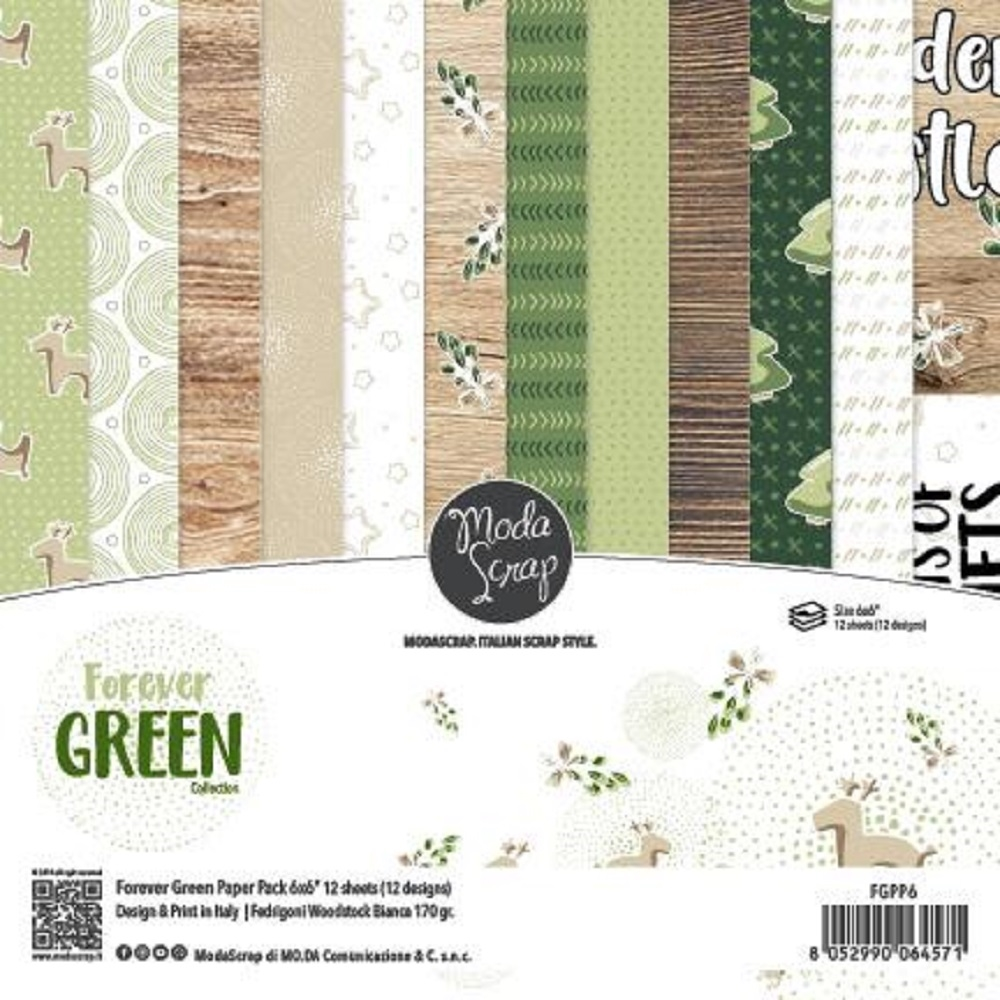Modascrap Forever Green 6x6 Paper Pack