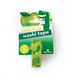 Paper House Scratch and Sniff GREEN APPLE DINOSAURS Washi Tape STWA-1004