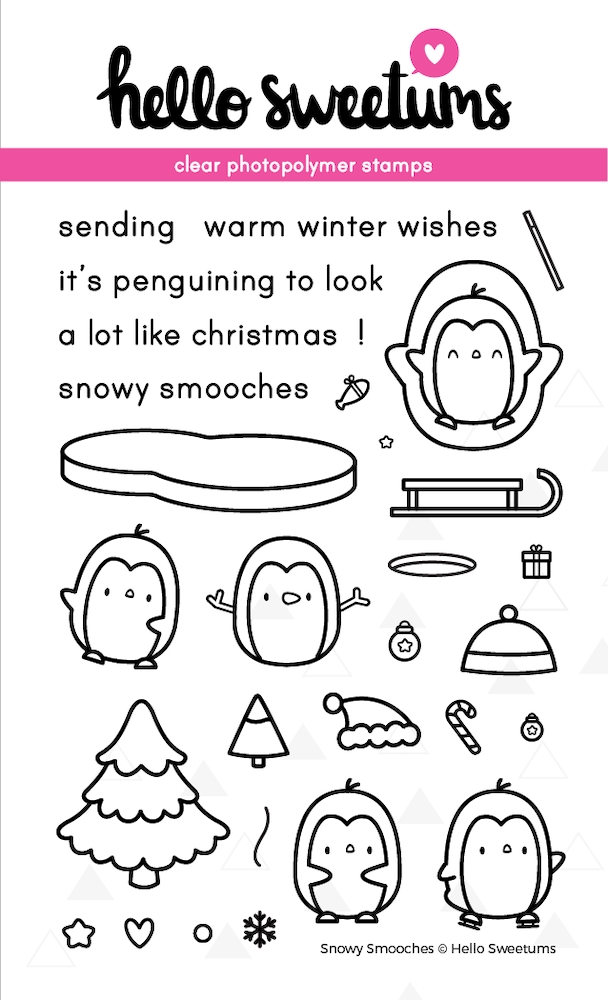 Hello Sweetums SNOWY SMOOCHES Clear Stamp Set 002077 zoom image