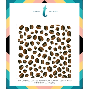 Trinity Stamps COFFEE BEAN BACKGROUND 6 x 6 Stencil Set of 2 tss-003