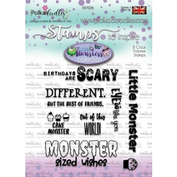 Polkadoodles SCARY MESSAGES LITTLE MONSTERS Clear Stamp Set pd7036