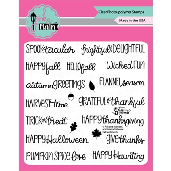 Pink and Main FALL SENTIMENTS Clear Stamps PM0364