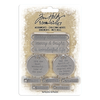 RESERVE Tim Holtz Idea-ology CHRISTMAS WORDS Adornments th93991