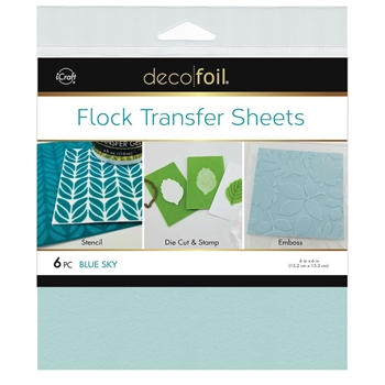 Therm O Web BLUE SKY Flock 6x6 Inch Transfer Sheets Deco Foil 5558