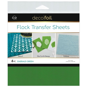 Therm O Web EMERALD GREEN Flock 6x6 Inch Transfer Sheets Deco Foil 5560