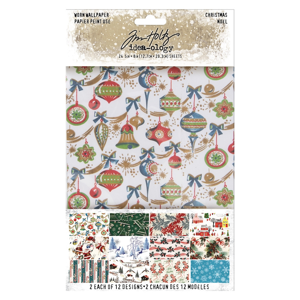 Tim Holtz Idea-ology CHRISTMAS Worn Wallpaper th94011 zoom image