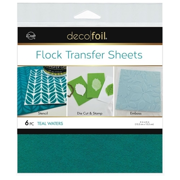 Therm O Web TEAL WATERS Flock 6x6 Inch Transfer Sheets Deco Foil 5561