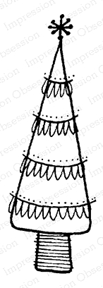 Impression Obsession Cling Stamp HOLIDAY SCALLOP TREE C12091 Preview Image