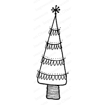 Impression Obsession Cling Stamp HOLIDAY SCALLOP TREE C12091