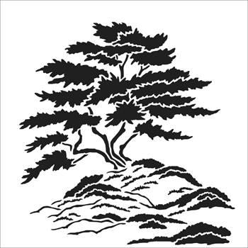 The Crafter's Workshop SMALL CYPRESS TREE 6x6 Stencil tcw866s