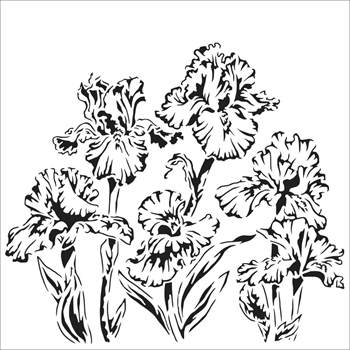 The Crafter's Workshop SMALL IRISES 6x6 Stencil tcw864s