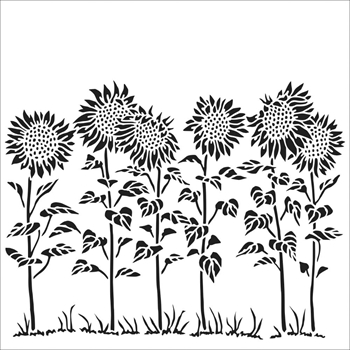 The Crafter's Workshop SMALL SUNFLOWER MEADOW 6x6 Stencil tcw863s