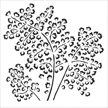 The Crafter's Workshop SMALL MAIDENHAIR FERN 6x6 Stencil tcw862s
