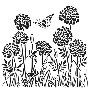 The Crafter's Workshop SMALL HAPPY DANDELIONS 6x6 Stencil tcw861s