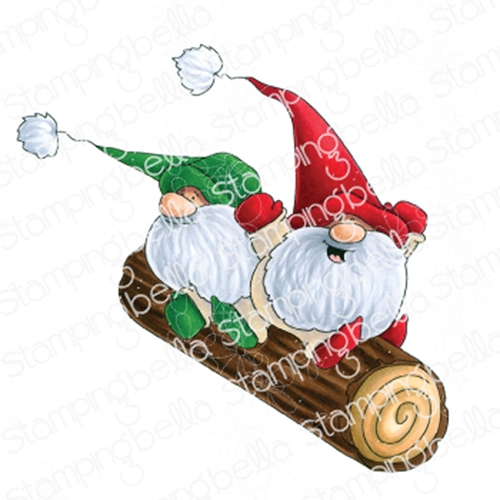 Stamping Bella Cling Stamp TWO GNOMES ON A LOG eb887 Preview Image
