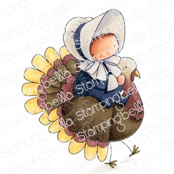Stamping Bella Cling Stamp BUNDLE GIRL ON A TURKEY eb874