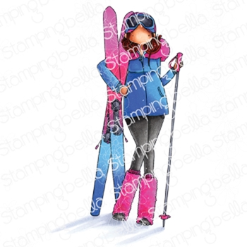 Stamping Bella Cling Stamp CURVY GIRL LOVES TO SKI eb890