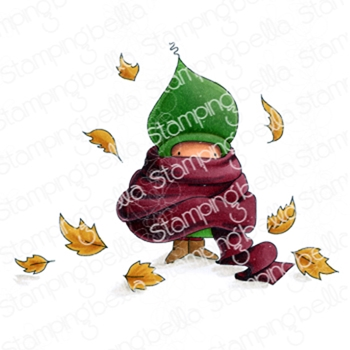 Stamping Bella Cling Stamp BUNDLE GIRL IN A PILE OF LEAVES eb879