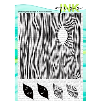 Miss Ink Stamps WOODGRAIN BACKGROUND Clear Set 919bk02