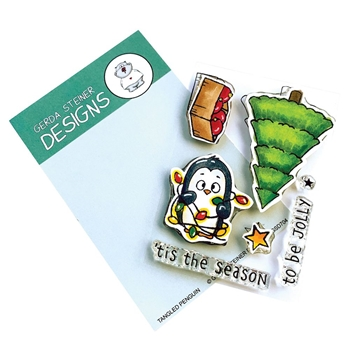 Gerda Steiner Designs TANGLED PENGUIN Clear Stamp Set gsd704