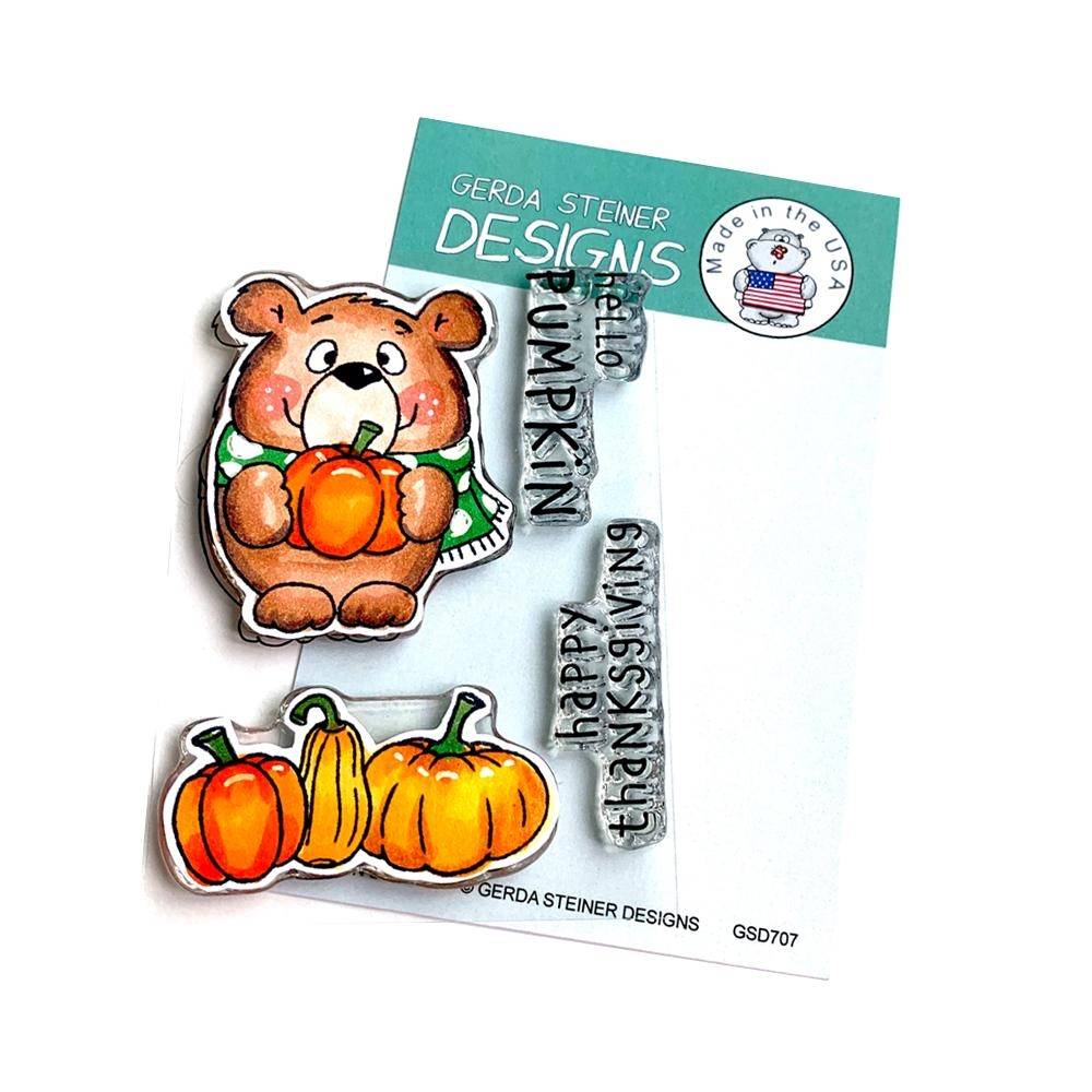 Gerda Steiner Designs PUMPKIN BEAR Clear Stamp Set gsd707 zoom image