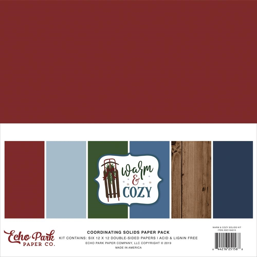 Echo Park WARM AND COZY 12 x 12 Double Sided Solids Paper Pack wc194015 zoom image