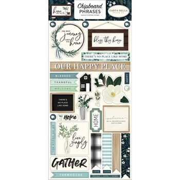 Carta Bella HOME AGAIN 6 x 13 Chipboard Phrases cbhoa109022