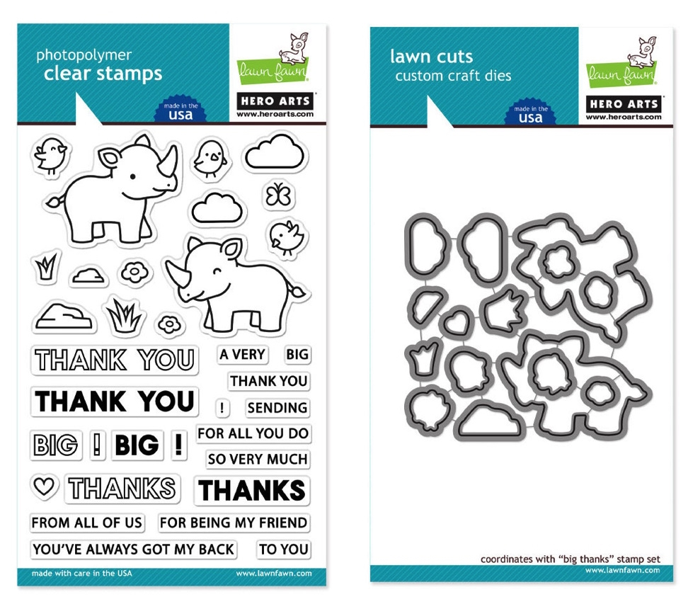 Hero Arts Partnership Clear Stamp and Die Lawn Fawn BIG THANKS SET zoom image