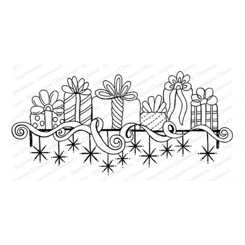 Impression Obsession Cling Stamp GIFT MANTEL F16481 Preview Image