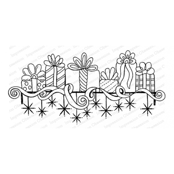Impression Obsession Cling Stamp GIFT MANTEL F16481