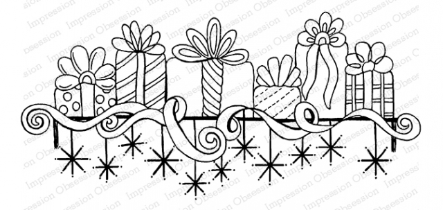 Impression Obsession Cling Stamp GIFT MANTEL F16481 zoom image