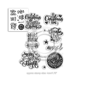 Polkadoodles MERRY AND BRIGHT CHRISTMAS GREETINGS Clear Stamps pd7967