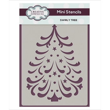 Creative Expressions SWIRLY TREE Mini Stencil cemsstree