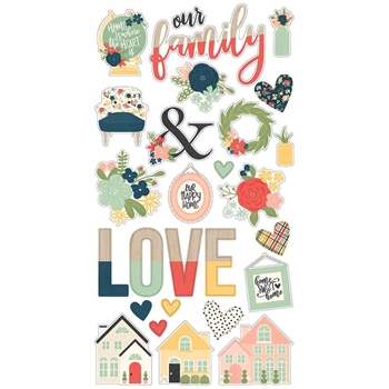 Simple Stories SO HAPPY TOGETHER 6 x 12 Chipboard Stickers 11714