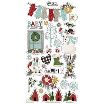 Simple Stories WINTER FARMHOUSE 6 x 12 Chipboard Stickers 11619